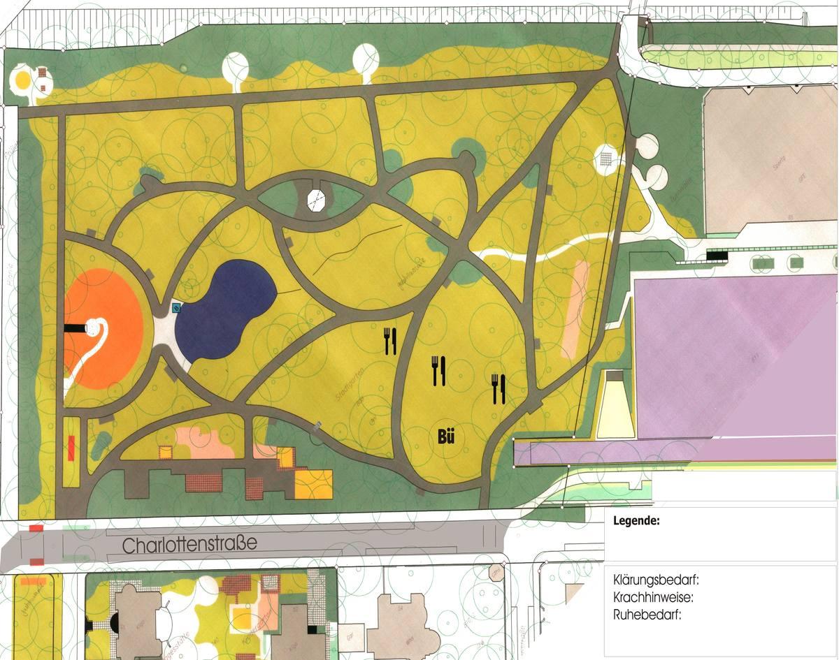 Karte des Stdtgartens und der Charlottenstraße