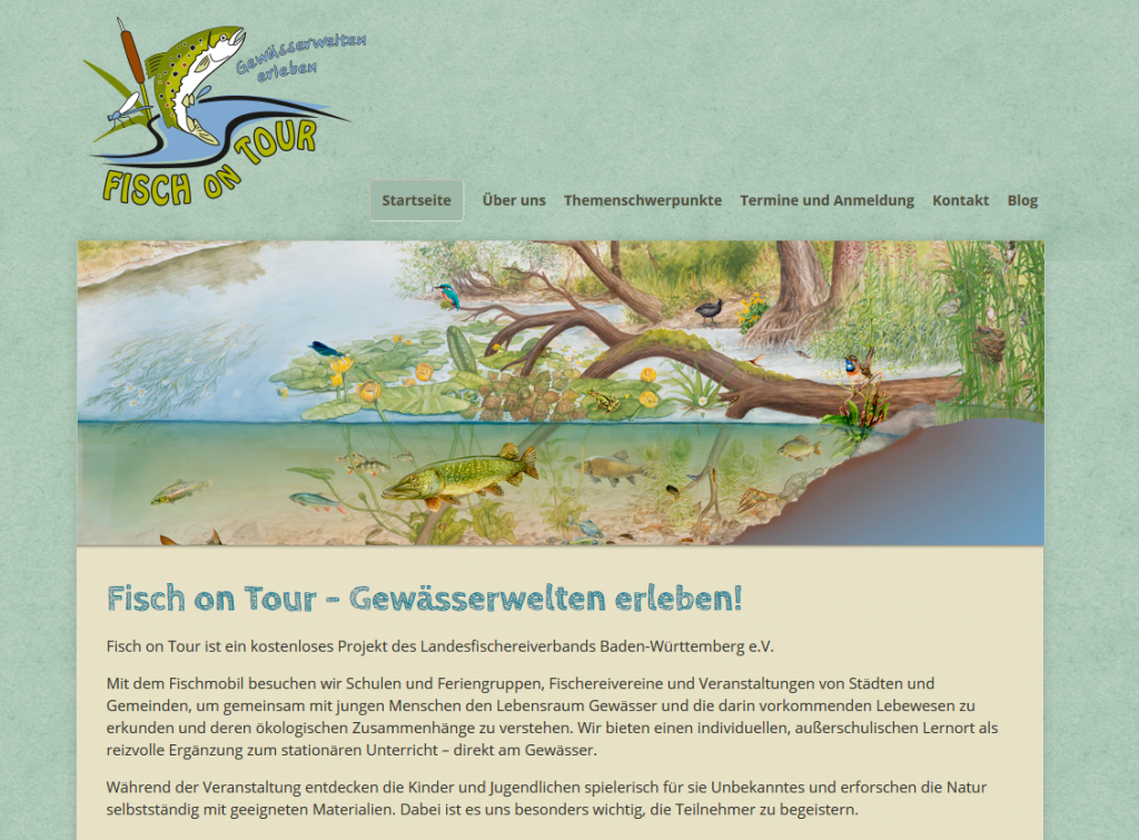 Screenshot der Homepage des Fisch on Tour Mobils